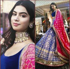 Khushi Kapoor in Manish Malhotra! Half Saree Designs, Lehenga Designs, Blouse Designs, Indian Bridal Outfits, Indian Designer Outfits, Manish Malhotra Designs, Manish Malhotra Dresses, Manish Malhotra Bridal, Indian Lehenga
