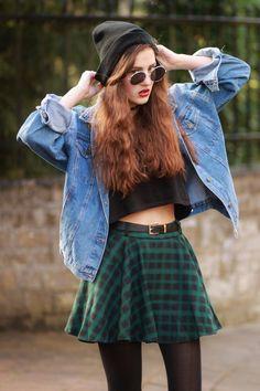 check skirt + black crop top + oversized denim jacket
