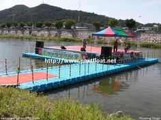 It is a floating stage for small festival celebration in Korea which actors and singers can perform on it. 무주에 설치된 수상무대입니다.
