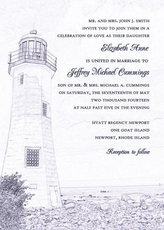 Lighthouse Wedding Invitation Lighthouse by katleminvitations