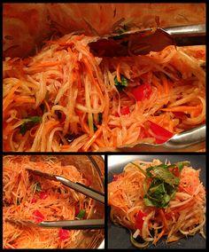 Vegan Thai Papaya Salad. I shred papaya, salt it and sweat. Julienne carrot, cook for 1 minute. Then dissolve sugar in vinegar in a saucepan. While still hot, add garlic slices. Add papaya in.