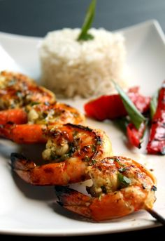 Sweet Jalapeno Glazed Grilled Shrimp with Coconut Rice by pepperedsalt #Shrimp #Coconut #Rice
