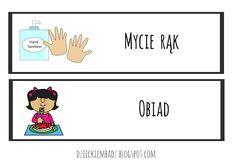 Dzieckiem bądź: Ilustrowany plan dnia DO POBRANIA Hand Sanitizer, Preschool, Education, Signs, Kid Garden, Shop Signs, Kindergarten, Onderwijs, Learning