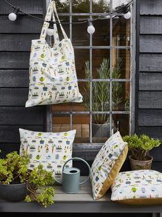 Quirky and characterful, Pick 'n' Mix novelty prints pack fun into everywhere. Bright, playful motifs keep the mood light. British Bees, Prestigious Textiles, Mood Light, Pick And Mix, Novelty Print, Throw Pillows, Planting, Fabric, Fun