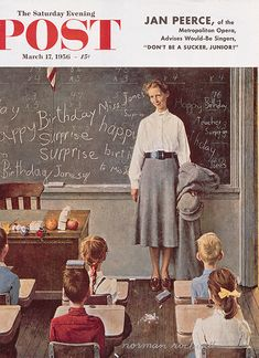 Happy Birthday, Miss Jones, Saturday Evening Post Cover, Mar. 17, 1956, by Norman Rockwell