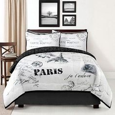 Black & White French Parisian Eiffel Tower POSTCARDS FROM PARIS Comforter Set