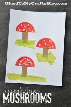Cupcake Liner Mushrooms - Kid Craft