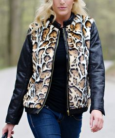Look what I found on #zulily! Black & Brown Faux Ocelot Fur Jacket by Donna Salyers' Fabulous-Furs #zulilyfinds