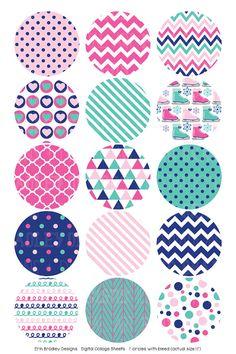 Ice Skating Digital Collage Sheet in Pink by ErinBradleyDesigns