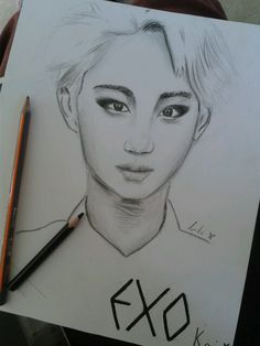 Exo- Kai drawing :-) i love him :-D I Love Him, My Love, Exo Kai, My Drawings, Fanart, My Boo, Fan Art