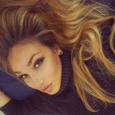 Hair highlights, natural makeup, true beauty