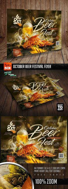 Buy October Beer Festival Flyer by MonkeyBOX on GraphicRiver. October Beer Festival Flyer: Easy-To-Edit Restaurant Menu Template, Restaurant Flyer, Festival Flyer, Beer Festival, Bavaria Beer, Oktoberfest Party, Print Design, Graphic Design, Print Templates