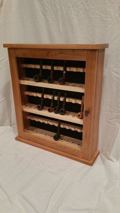 Pipe cabinet solid cherry and maple holds 36 pipes tobacco pipe rack by klwilmes on Etsy https://www.etsy.com/listing/256944310/pipe-cabinet-solid-cherry-and-maple