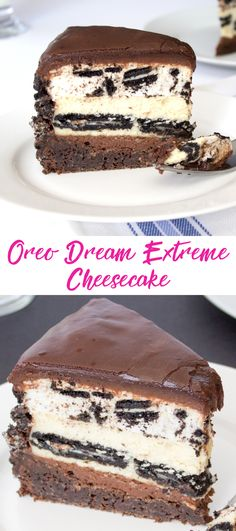 Oreo Dream Extreme Cheesecake Copycat Recipe. Layers of chocolate cake, chocolate ganache, oreo cookie cheesecake and an oreo cookie mousse.