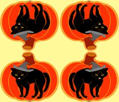 Pumpkin Black Cat Pillow by grannynan