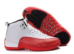 Jordan 12 white red basketball shoes