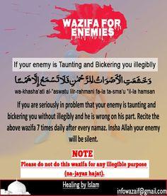 Wazifa for enemeis