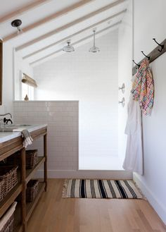 loft bathroom - want the wall to make the shower private - frosted glass door