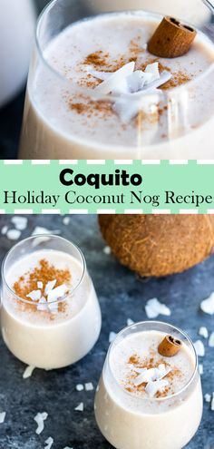 Bring Christmas in Puerto Rico to your home with this creamy traditional coquito recipe! This savory coconut and white rum drink mix is perfect for those big family holiday parties! Coquito is a traditional Puerto Rican drink that is usually made for Thanksgiving Drinks, Christmas Cocktails, Holiday Drinks, Holiday Recipes, Holiday Parties, Tapas Recipes, Cocktail Recipes, Cooking Recipes, Drink Recipes