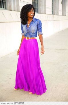 maxi skirt, button up shirt, and a pull-over or cardigan with ...