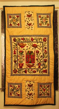 I bought this panel from Oughterard, County Galway, some time last year and it has kept me busy through the cold winter months. Quilted Wall Hangings, Winter Months, Cold, Quilts, Blanket, Quilt Sets, Blankets, Log Cabin Quilts, Cover