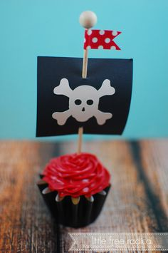 Pirate Ship Flags  Cupcake Toppers for Pirate Theme Birthday Party or Boy Shower