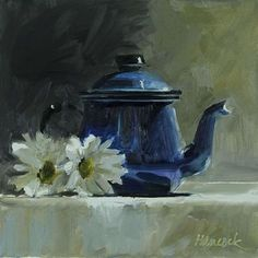 """Daily Paintworks - """"Blue Metal Teapot with Two Mums"""" - Original Fine Art for Sale - © Gretchen Hancock"""