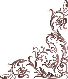 Classic angle 14 (stencil for decoration) Stencil Patterns, Stencil Designs, Stencils, Diy And Crafts, Paper Crafts, Paperclay, Corner Designs, Pyrography, Islamic Art