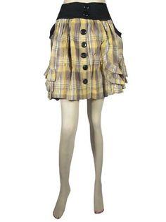 "Womens Bohemian Skirts Mini Skirt Yellow Ivory Plaid Printed Cotton Miniskirt Length 18"" Mogul Interior,http://www.amazon.com/dp/B00C66L596/ref=cm_sw_r_pi_dp_YHgxrbAC12C3428D"