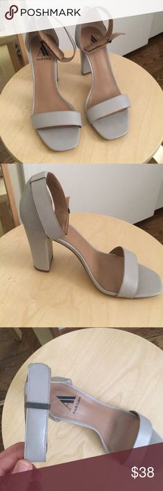 ASOS Gray Ankle Strap Heels Worn once! Ava & Aiden brand. Approx. 3 inches tall. ASOS Shoes Heels