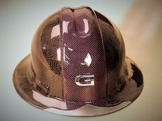 CARBON & PURPLE P.E.T HYBRID OVERLAY OF CUSTOM WEAVE CARBON FIBER HARD HAT