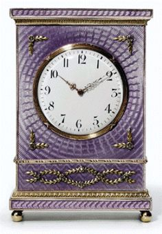 #Fabergé  --  Queen Mary's Enameled & Silver Faberge Clock  --  Vintage Russian  --  No Date Provided  --  Translucent mauve, silver clock with gold decorative elements  --  Given By Queen Mary to Princess Margaret  --  Auctioned in 2006 to a private collection.