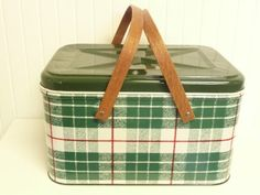 NICE Green Plaid Picnic Basket Vintage Tin by NewLifeVintageRVs