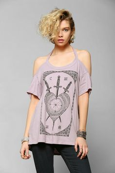 Truly Madly Deeply Swords & Tarot Cold Shoulder Tee #urbanoutfitters