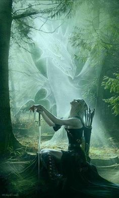 The Huntress and Dragon of the Mist - Woman kneeling with a sword - Fantasy art Fantasy Warrior, Goddess Warrior, Anime Warrior, Fantasy World, Dark Fantasy, Fantasy Story, Fantasy Pictures, Dragon Art, Magical Creatures