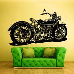 Wall Vinyl Sticker Decals Decor Art Bedroom Kids Design Mural Retro Bike Motorcycle Detailed Chopper Custom (z801) on Etsy, $27.99