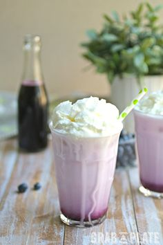 These Blueberry Italian Cream Soda drinks can get a little messy, but they're delicious!