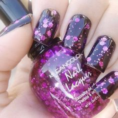 Beautiful Glitter Party Nails for any look 2015 Nail Art Purple Nail Polish, Glitter Nail Polish, Purple Nails, Purple Sparkle, Black Polish, Bright Nails, Hair And Nails, My Nails, Black Nails With Glitter