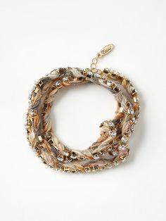 rhinestones braided with silk ribbon, multi wrap