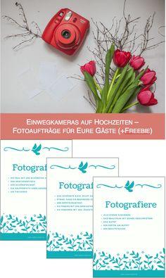 Ihr habt Einwegkameras auf der Hochzeit für Eure Gäste? Dann verteilt unbedingt Aufgaben, damit auch schöne Bilder entstehen (inkl. Freebie)
