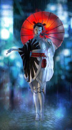 Geisha in the rain! The geisha is based Arte Cyberpunk, Cyberpunk Aesthetic, Cyberpunk Girl, Cyberpunk Character, Cyberpunk 2077, Fantasy Character Design, Character Design Inspiration, Character Art, Geisha Art