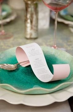 Curled whimsical menu card