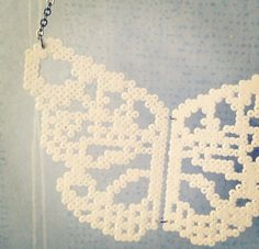 Delicate Butterfly perler bead necklace by Jannieel