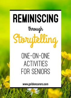 Storytelling: This is a wonderful one-on-one activity for the elderly, including those living with dementia. It promotes memory recall and reinforces self-worth by validating their past lives. Assisted Living Activities, Nursing Home Activities, Cognitive Activities, Alzheimers Activities, Elderly Activities, Senior Activities, Therapy Activities, Spring Activities, Exercise Activities