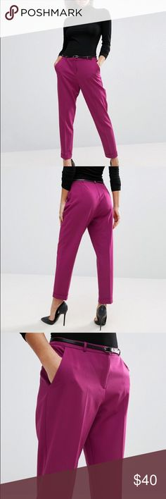 ASOS Cigarette Pants with belt New without tags. Never worn. High waist with belt. Color: raspberry US Size 12 ASOS Pants Straight Leg