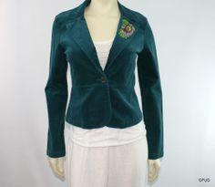 AZIZ Sz M Teal Blue Green Beaded Fine Corduroy Blazer Jacket One-Button