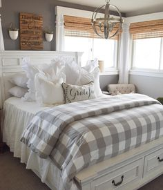 Gwyneth Buffalo Check Bedding is part of Farmhouse bedroom furniture - Classic buffalo check in a fresh modern palette The Gwyneth Duvet Cover layers effortlessly with our Edith Vine, Jardin Toile and Audree Pom Pom Bedding Farmhouse Master Bedroom, Cozy Bedroom, Modern Bedroom, Bedding Master Bedroom, Farmhouse Bedroom Furniture, Guest Bedroom Decor, Master Bedrooms, Couple Bedroom Decor, Master Suite