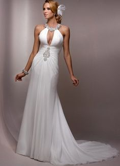 Sheath Beaded Split Chiffon Halter Wedding Dress #weddinggownresale #weddinggownrentalnyc #weddinggownrentallasvegas