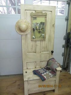 hall tree made from an old door, no instructions , just an idea