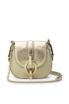 Sutra Mini Metallic Leather Crossbody Bag In Light Gold